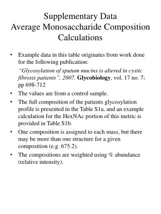 Supplementary Data  Average Monosaccharide Composition Calculations