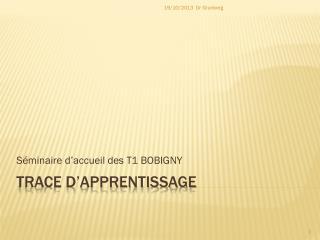 TRACE D'APPRENTISSAGE