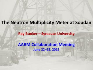 The Neutron Multiplicity Meter at Soudan Ray Bunker—Syracuse University AARM Collaboration Meeting