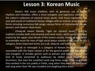 Lesson 3: Korean Music