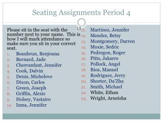 Seating Assignments Period  4