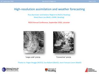 High-resolution assimilation and weather forecasting