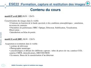 ESE22 : Formation, capture et restitution des images