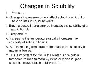 Changes in Solubility