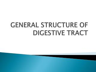 GENERAL STRUCTURE OF DIGESTIVE TRACT