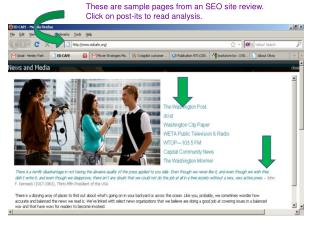 These are sample pages from an SEO site review. Click on post-its to read analysis.