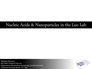 Matthew Mancuso  BEE 7600, Professor Dan Luo