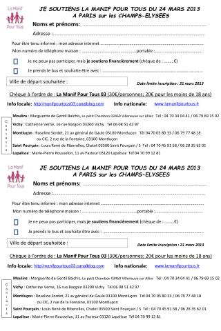 JE SOUTIENS LA MANIF POUR TOUS DU 24 MARS 2013  A PARIS sur les CHAMPS-ELYSEES
