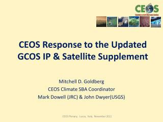 CEOS Response to the Updated GCOS IP & Satellite  Supplement