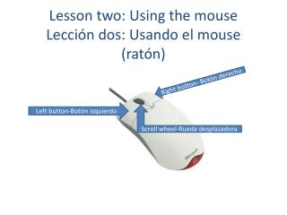 Lesson two: Using the mouse Lección  dos:  Usando  el mouse ( ratón )