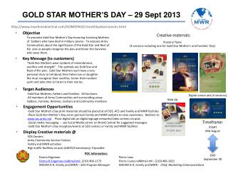 GOLD STAR MOTHER�S DAY � 29 Sept 2013