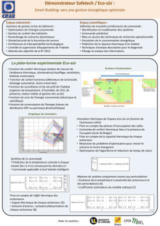 Démonstrateur  Safetech  /  Eco-sûr : Smart Building: vers une gestion énergétique optimisée