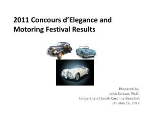 2011  Concours d'Elegance  and Motoring Festival Results