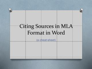 Citing Sources in MLA Format in Word