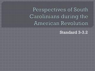 Perspectives of South Carolinians during the American Revolution