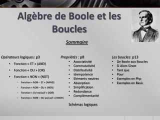 Alg�bre de Boole et les Boucles