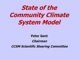 State of the Community Climate System Model