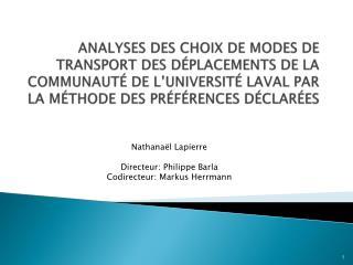 Nathanaël Lapierre Directeur: Philippe Barla Codirecteur: Markus Herrmann