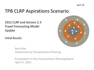 Ron Kirby Department of Transportation Planning Presentation to the Transportation Planning Board