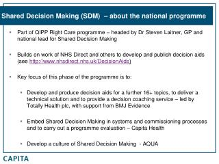 Shared Decision Making (SDM)  – about the national programme