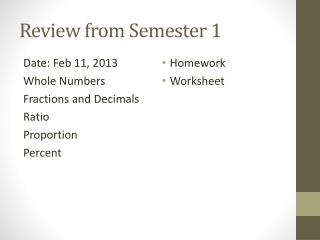 Review from Semester 1