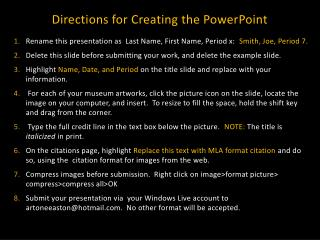 Directions for Creating the PowerPoint