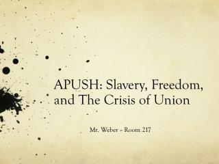 APUSH: Slavery, Freedom, and The Crisis of Union