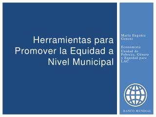 H erramientas para  P romover la Equidad a Nivel Municipal