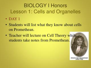 BIOLOGY I Honors Lesson 1: Cells and Organelles