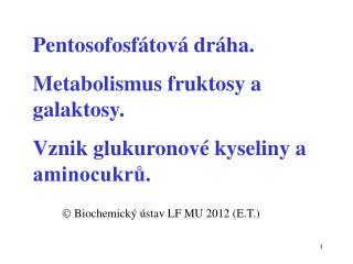 P entoso fosfátová dráha. Metabolismus fruktosy a galaktosy.