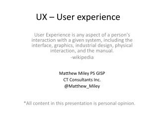 UX – User experience