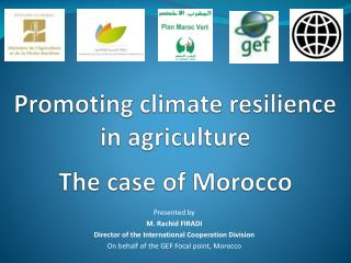Promoting climate resilience in agriculture The case of Morocco