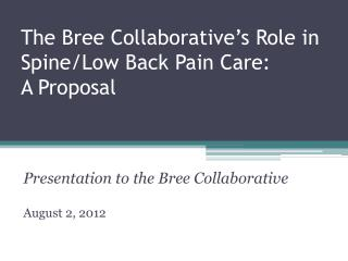 The  Bree Collaborative�s  Role in Spine/Low Back Pain Care: A Proposal