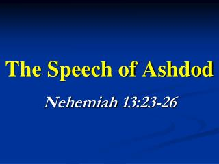 The Speech of Ashdod