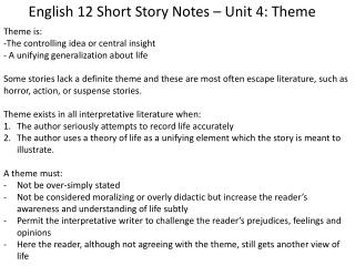 English 12 Short Story Notes – Unit 4: Theme