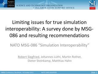 """NATO MSG-086 """"Simulation Interoperability"""""""