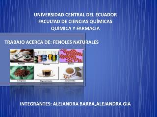 UNIVERSIDAD CENTRAL DEL ECUADOR FACULTAD DE CIENCIAS QU�MICAS QU�MICA Y FARMACIA