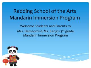 Redding School of the Arts Mandarin Immersion Program