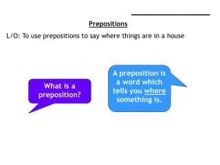 ____________________ Prepositions L/O: To use prepositions to say where things are in a house