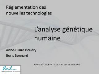 Réglementation des nouvelles technologies Anne-Claire Boudry Boris Bonnard
