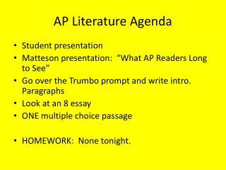 AP Literature Agenda