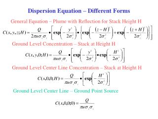 Dispersion Equation   Different Forms General Equation ...