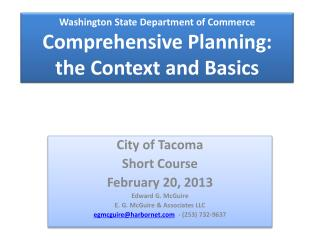 Washington State Department of Commerce Comprehensive Planning: the Context and Basics