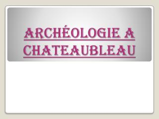 Arch�ologie a  chateaubleau