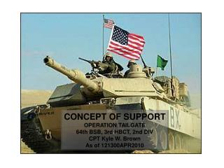 CONCEPT OF SUPPORT OPERATION TAILGATE 64th BSB, 3rd HBCT, 2nd DIV CPT Kyle W. Brown