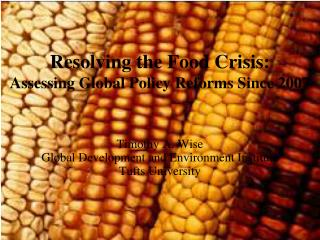 Resolving the Food Crisis: Assessing Global Policy Reforms Since 2007