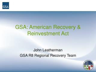 GSA: American Recovery  Reinvestment Act