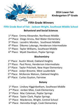 Fifth Grade Winners