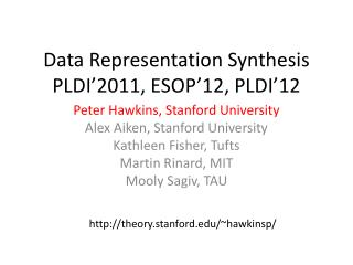 Data Representation Synthesis PLDI�2011, ESOP�12, PLDI�12