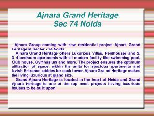 Grand Heritage,Ajnara Grand Heritage,Grand Ajnara Heritage S
